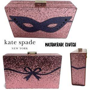 Kate Spade Masquerade Mask Clutch Pink Glitter Bag
